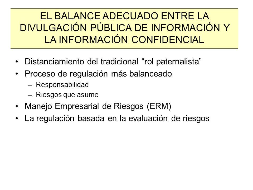 Distanciamiento del tradicional rol paternalista Proceso de regulación más balanceado –Responsabilidad –Riesgos que asume Manejo Empresarial de Riesgo
