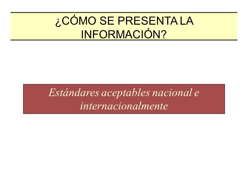Estándares aceptables nacional e internacionalmente
