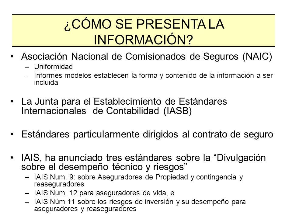 Asociación Nacional de Comisionados de Seguros (NAIC) –Uniformidad –Informes modelos establecen la forma y contenido de la información a ser incluida