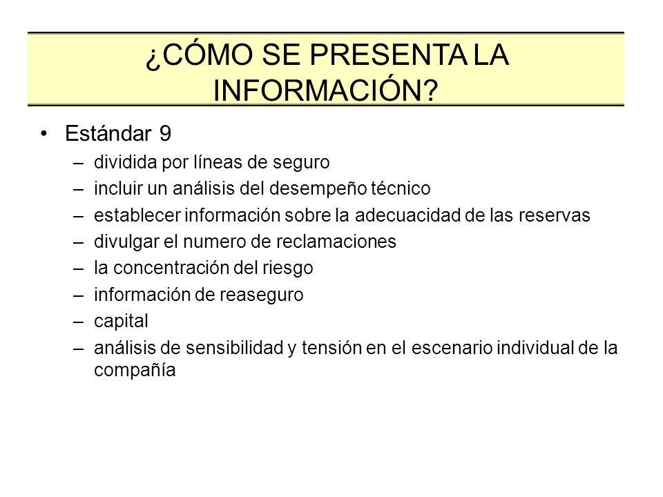 Estándar 9 –dividida por líneas de seguro –incluir un análisis del desempeño técnico –establecer información sobre la adecuacidad de las reservas –div