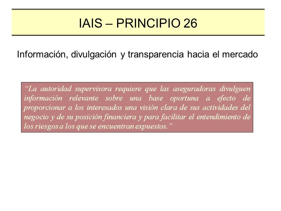 La divulgación pública y la transparencia como componentes integrales La autoridad reguladora identifique cuál información deberá hacerse pública Segura y eficiente IAIS – PRINCIPIO 26