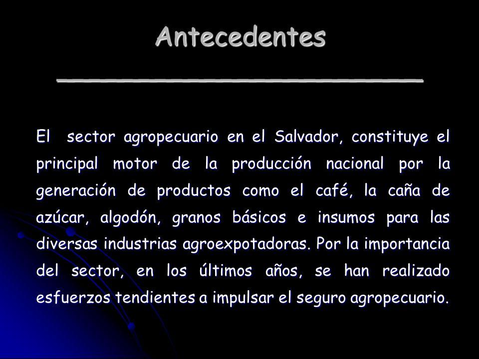 Antecedentes ______________________ El sector agropecuario en el Salvador, constituye el principal motor de la producción nacional por la generación d