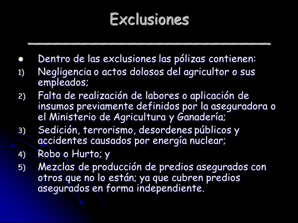 Exclusiones __________________________ Dentro de las exclusiones las pólizas contienen: Dentro de las exclusiones las pólizas contienen: 1) Negligenci