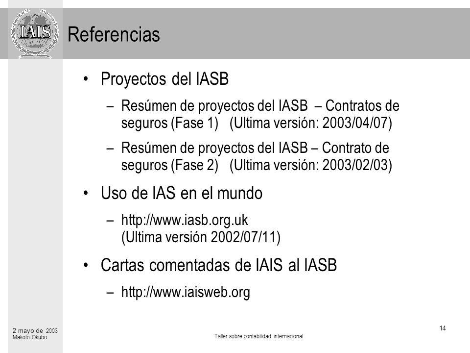 Taller sobre contabilidad internacional 14 2 mayo de 2003 Makoto Okubo Referencias Proyectos del IASB –Resúmen de proyectos del IASB – Contratos de se