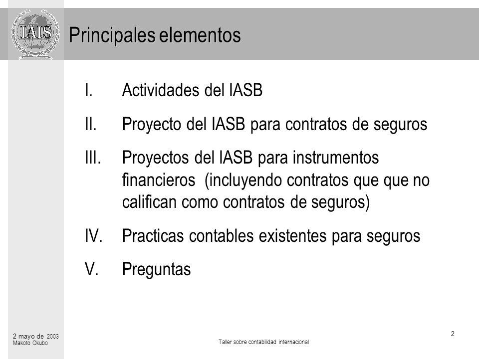 Taller sobre contabilidad internacional 2 2 mayo de 2003 Makoto Okubo Principales elementos I.Actividades del IASB II.Proyecto del IASB para contratos