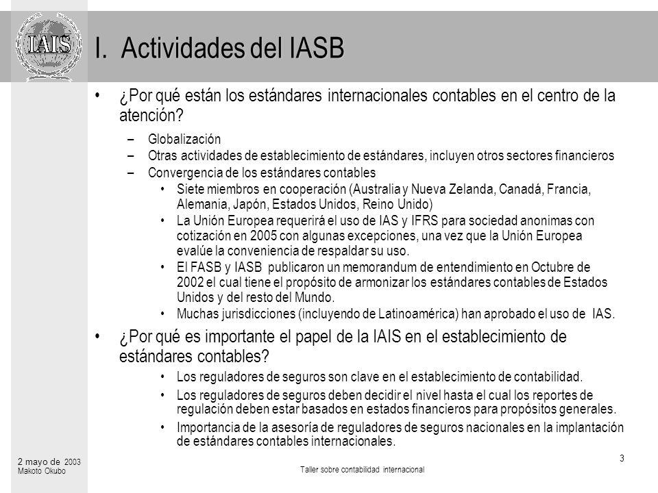 Taller sobre contabilidad internacional 14 2 mayo de 2003 Makoto Okubo Referencias Proyectos del IASB –Resúmen de proyectos del IASB – Contratos de seguros (Fase 1) (Ultima versión: 2003/04/07) –Resúmen de proyectos del IASB – Contrato de seguros (Fase 2) (Ultima versión: 2003/02/03) Uso de IAS en el mundo –http://www.iasb.org.uk (Ultima versión 2002/07/11) Cartas comentadas de IAIS al IASB –http://www.iaisweb.org