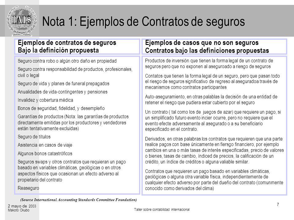 Taller sobre contabilidad internacional 7 2 mayo de 2003 Makoto Okubo Ejemplos de casos que no son seguros Contratos bajo las definiciones propuestas