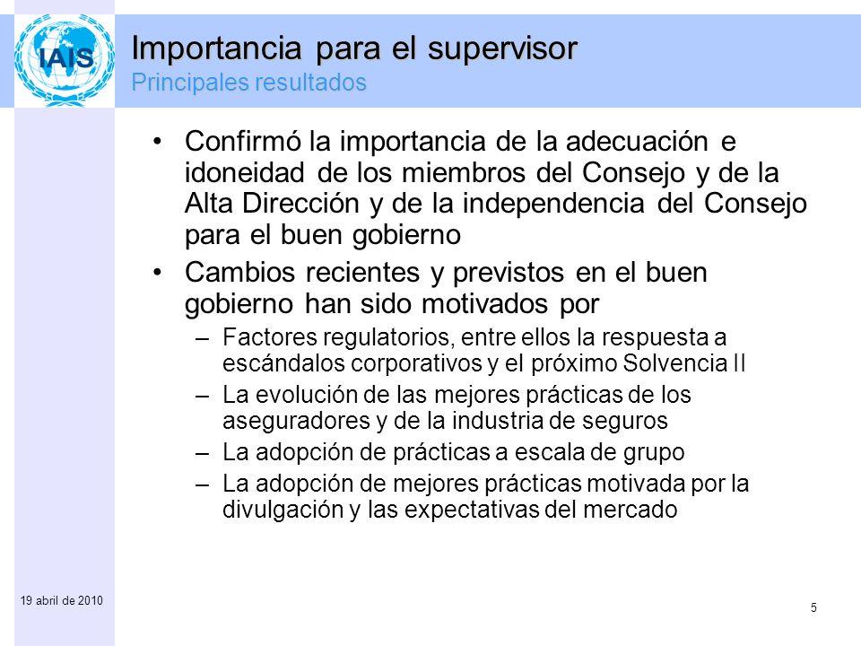 5 19 abril de 2010 Confirmó la importancia de la adecuación e idoneidad de los miembros del Consejo y de la Alta Dirección y de la independencia del C