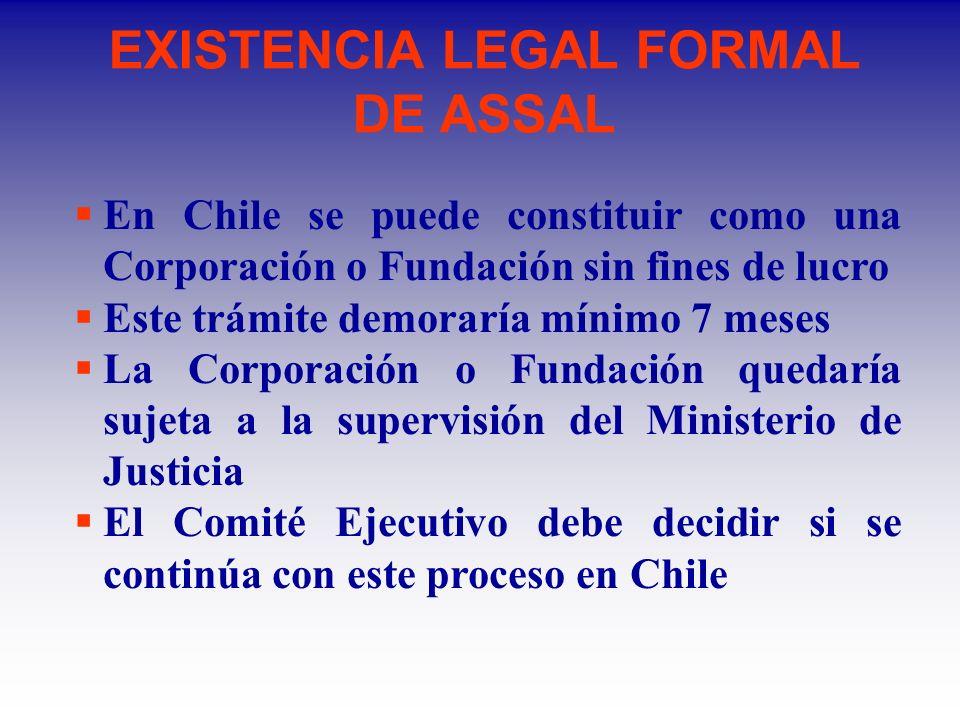 EXISTENCIA LEGAL FORMAL DE ASSAL En Chile se puede constituir como una Corporación o Fundación sin fines de lucro Este trámite demoraría mínimo 7 meses La Corporación o Fundación quedaría sujeta a la supervisión del Ministerio de Justicia El Comité Ejecutivo debe decidir si se continúa con este proceso en Chile