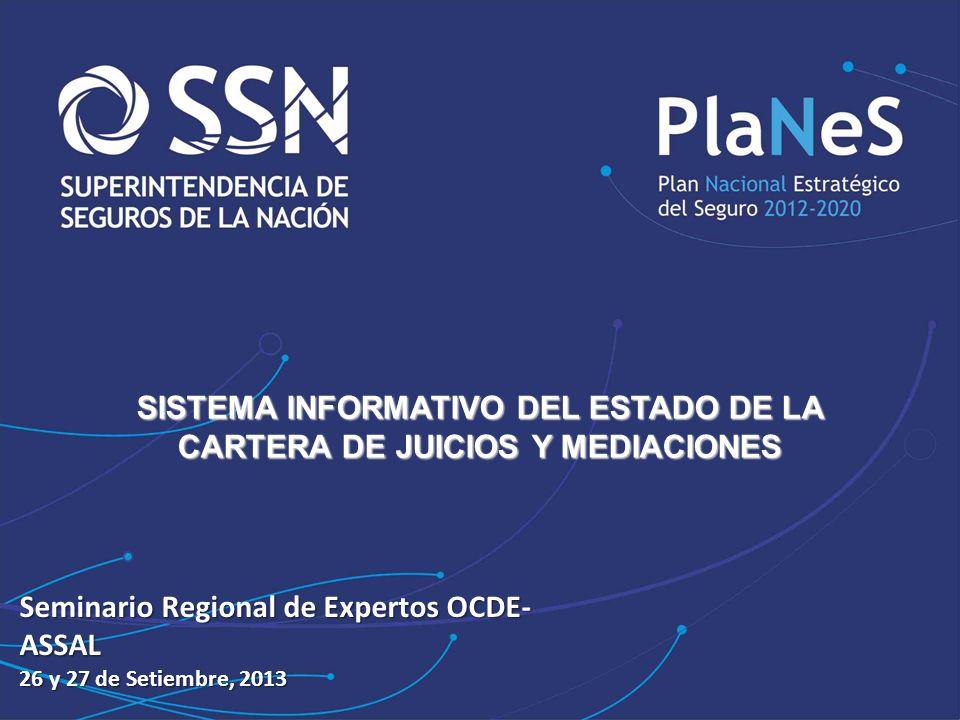 JORNADAS … SISTEMA INFORMATIVO DEL ESTADO DE LA CARTERA DE JUICIOS Y MEDIACIONES Seminario Regional de Expertos OCDE- ASSAL 26 y 27 de Setiembre, 2013