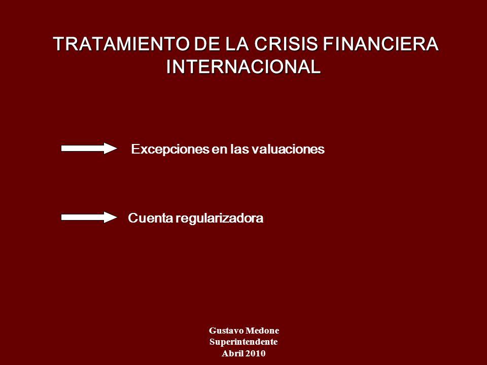 TRATAMIENTO DE LA CRISIS FINANCIERA INTERNACIONAL TRATAMIENTO DE LA CRISIS FINANCIERA INTERNACIONAL Excepciones en las valuaciones Cuenta regularizado