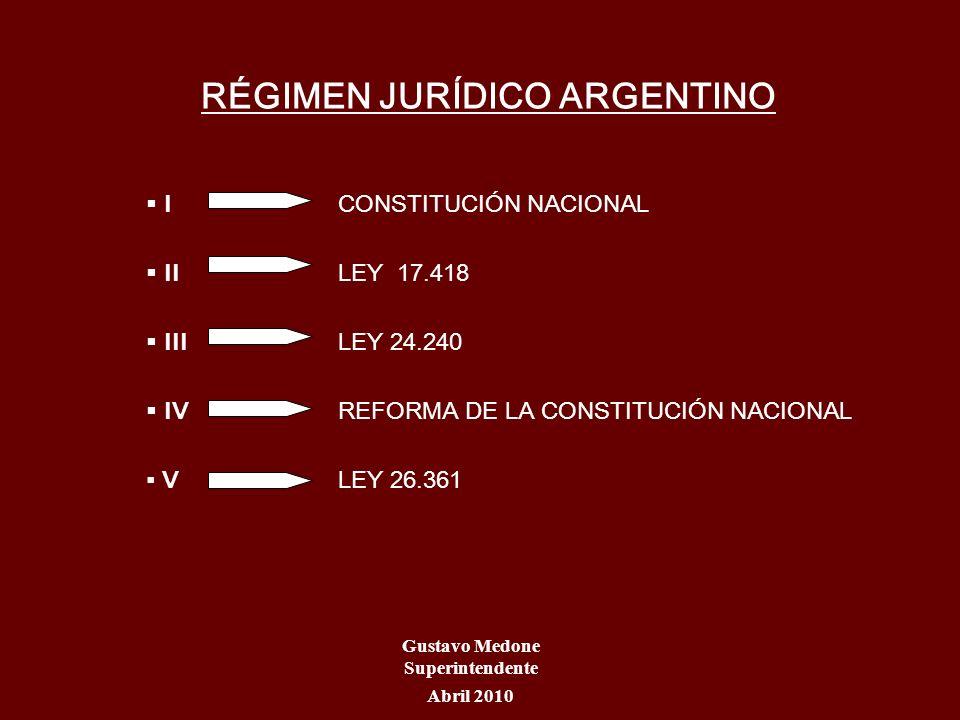 RÉGIMEN JURÍDICO ARGENTINO I CONSTITUCIÓN NACIONAL II LEY 17.418 III LEY 24.240 IVREFORMA DE LA CONSTITUCIÓN NACIONAL VLEY 26.361 Gustavo Medone Super