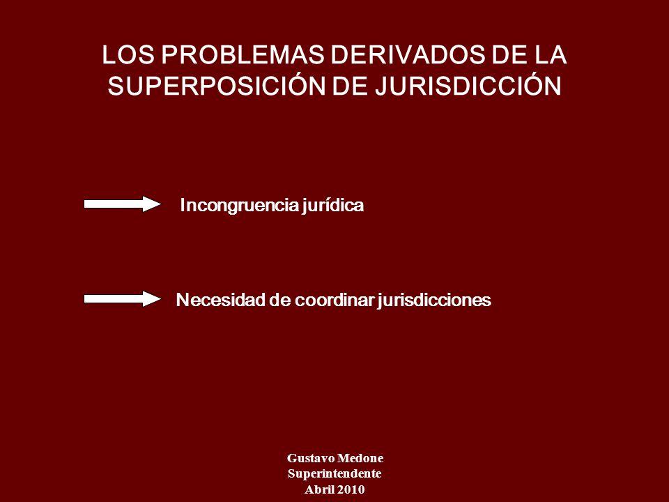 LOS PROBLEMAS DERIVADOS DE LA SUPERPOSICIÓN DE JURISDICCIÓN Incongruencia jurídica Necesidad de coordinar jurisdicciones Gustavo Medone Superintendent
