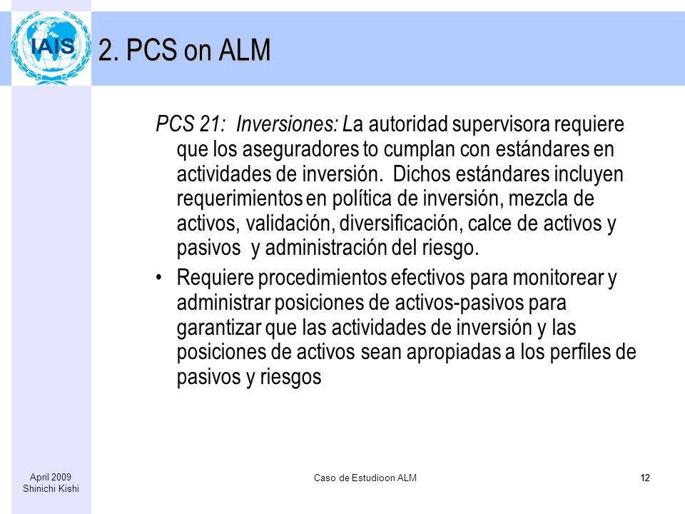 Caso de Estudioon ALM12 April 2009 Shinichi Kishi 12 2. PCS on ALM PCS 21: Inversiones: L a autoridad supervisora requiere que los aseguradores to cum