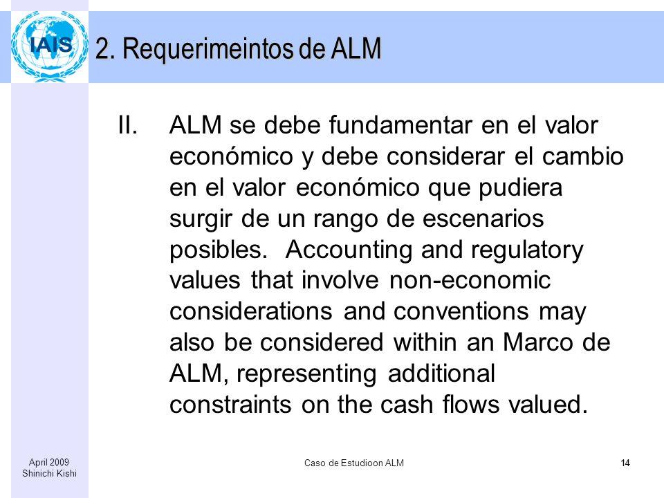Caso de Estudioon ALM14 April 2009 Shinichi Kishi 14 II.ALM se debe fundamentar en el valor económico y debe considerar el cambio en el valor económico que pudiera surgir de un rango de escenarios posibles.