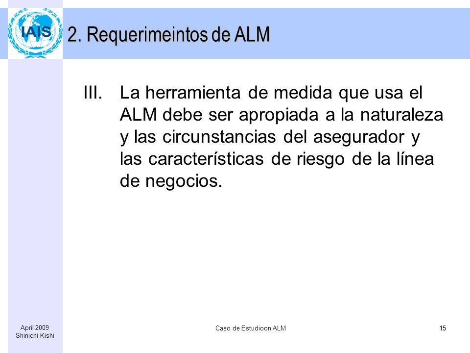 Caso de Estudioon ALM15 April 2009 Shinichi Kishi 15 III.La herramienta de medida que usa el ALM debe ser apropiada a la naturaleza y las circunstancias del asegurador y las características de riesgo de la línea de negocios.