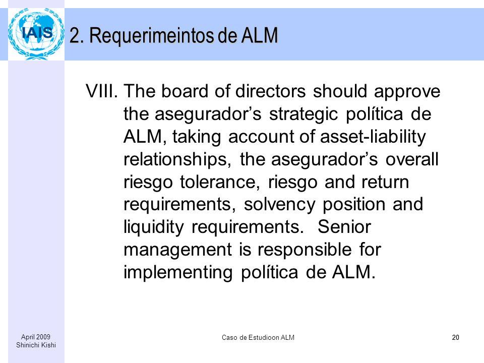 Caso de Estudioon ALM20 April 2009 Shinichi Kishi 20 VIII.The board of directors should approve the aseguradors strategic política de ALM, taking acco