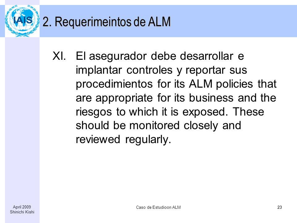 Caso de Estudioon ALM23 April 2009 Shinichi Kishi 23 XI.El asegurador debe desarrollar e implantar controles y reportar sus procedimientos for its ALM