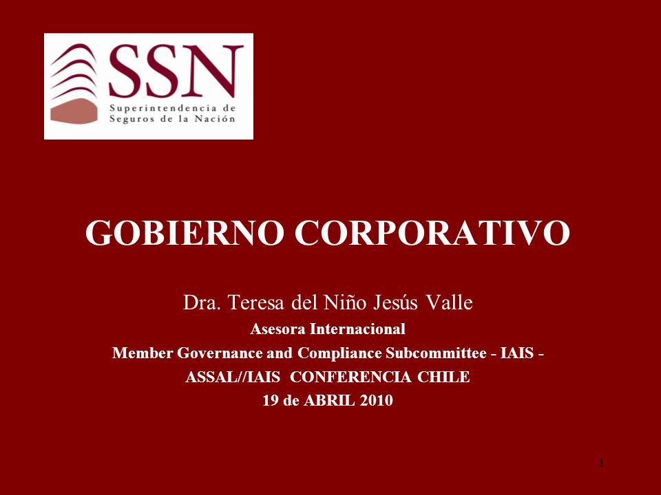 2 INTRODUCCION Un buen Gobierno Corporativo constituye un pre- requisito en la solvencia de una entidad aseguradora.