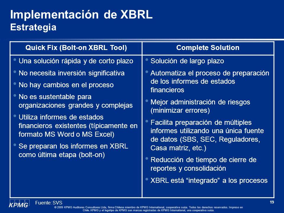 18 © 2009 KPMG Auditores Consultores Ltda, firma Chilena miembro de KPMG International, cooperativa suiza. Todos los derechos reservados. Impreso en C
