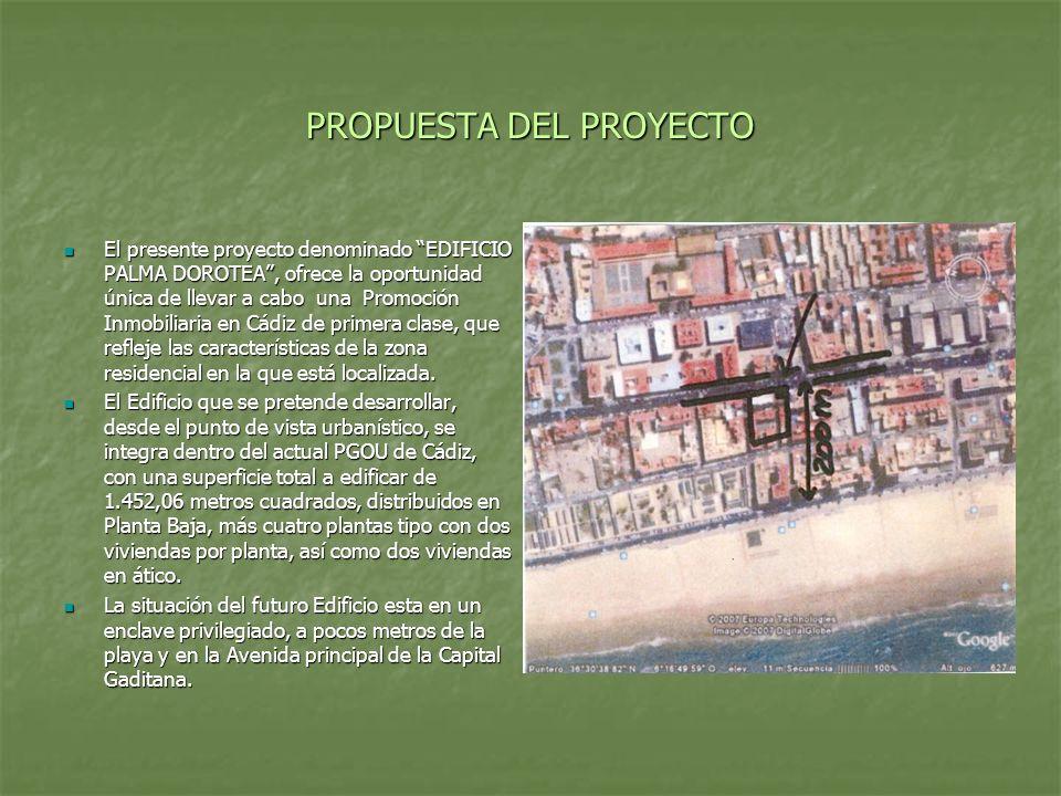PROPUESTA DEL PROYECTO El presente proyecto denominado EDIFICIO PALMA DOROTEA, ofrece la oportunidad única de llevar a cabo una Promoción Inmobiliaria