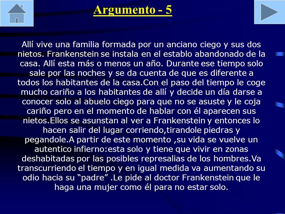 Argumento - 5 Allí vive una familia formada por un anciano ciego y sus dos nietos. Frankenstein se instala en el establo abandonado de la casa. Allí e