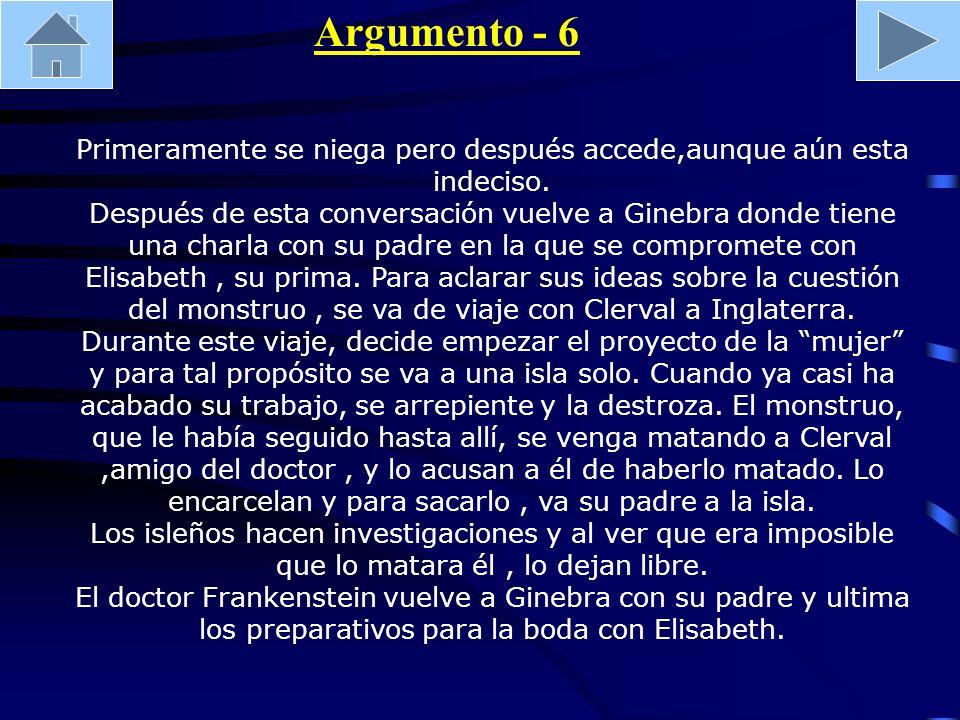 Argumento - 6 Primeramente se niega pero después accede,aunque aún esta indeciso. Después de esta conversación vuelve a Ginebra donde tiene una charla