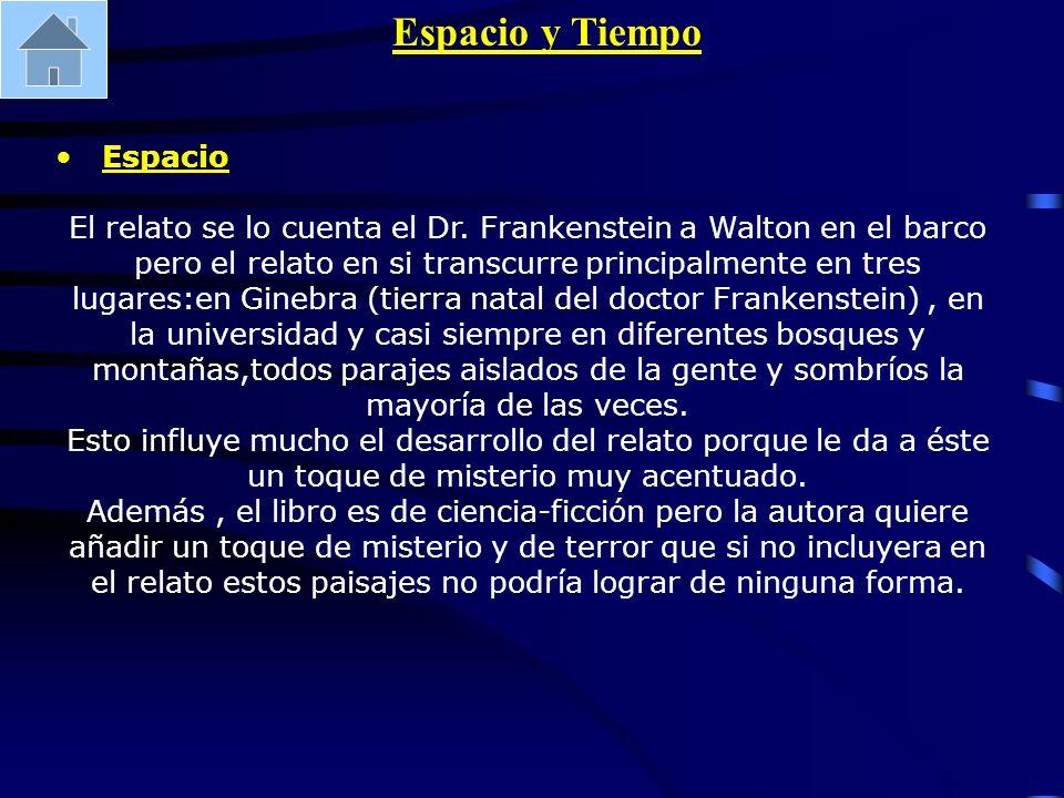 Espacio y Tiempo Espacio El relato se lo cuenta el Dr. Frankenstein a Walton en el barco pero el relato en si transcurre principalmente en tres lugare