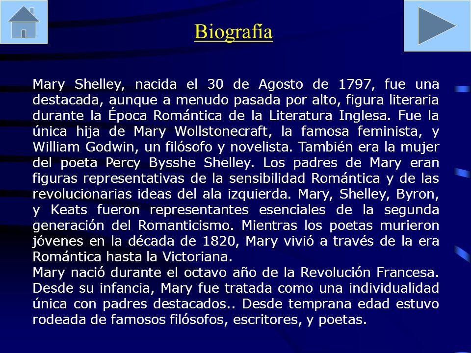 Mary Shelley, nacida el 30 de Agosto de 1797, fue una destacada, aunque a menudo pasada por alto, figura literaria durante la Época Romántica de la Li