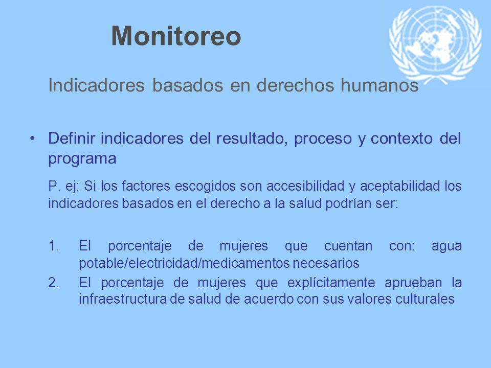 Monitoreo Indicadores basados en derechos humanos Definir indicadores del resultado, proceso y contexto del programa P.