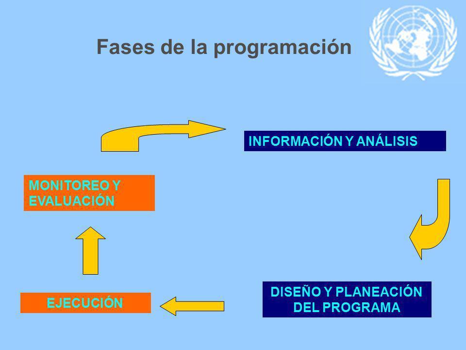 INFORMACIÓN Y ANÁLISIS DISEÑO Y PLANEACIÓN DEL PROGRAMA EJECUCIÓN MONITOREO Y EVALUACIÓN Fases de la programación