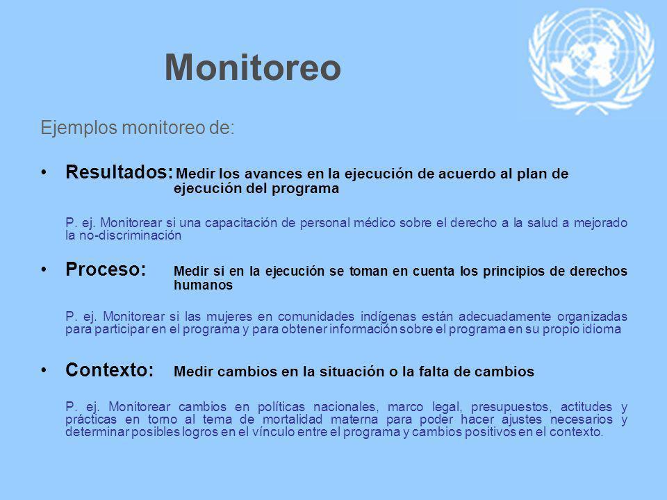 Monitoreo Ejemplos monitoreo de: Resultados: Medir los avances en la ejecución de acuerdo al plan de ejecución del programa P.