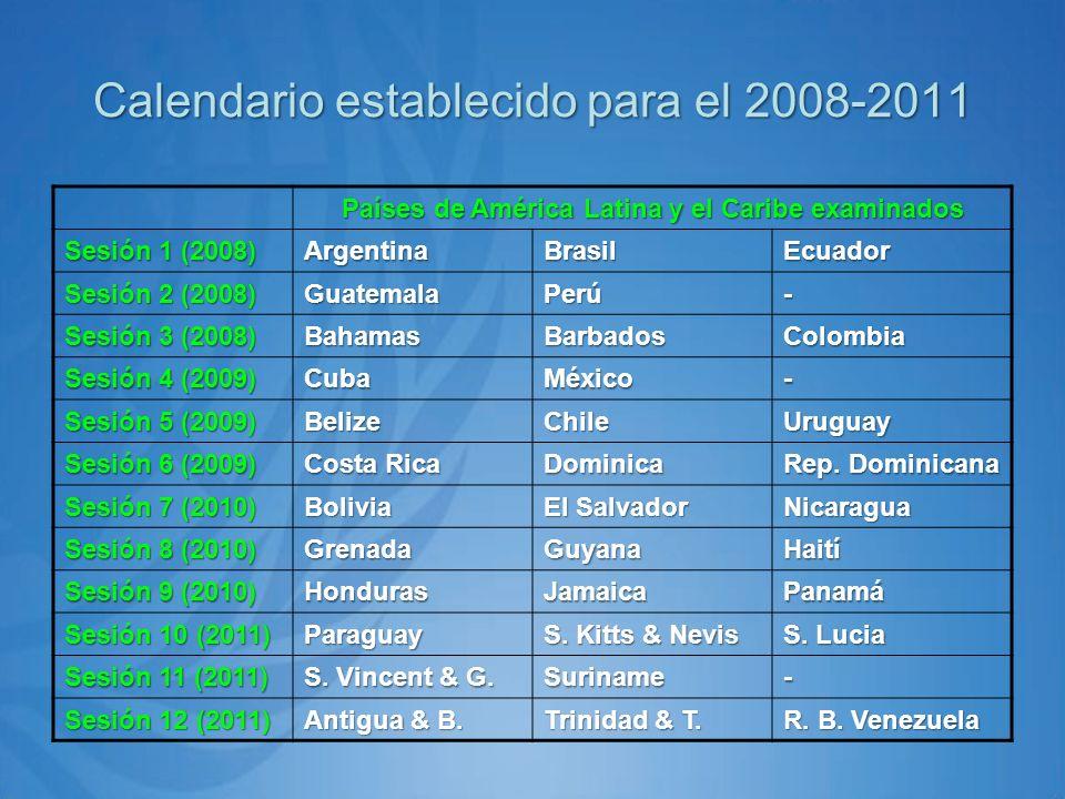 Países de América Latina y el Caribe examinados Sesión 1 (2008) ArgentinaBrasilEcuador Sesión 2 (2008) GuatemalaPerú- Sesión 3 (2008) BahamasBarbadosColombia Sesión 4 (2009) CubaMéxico- Sesión 5 (2009) BelizeChileUruguay Sesión 6 (2009) Costa Rica Dominica Rep.