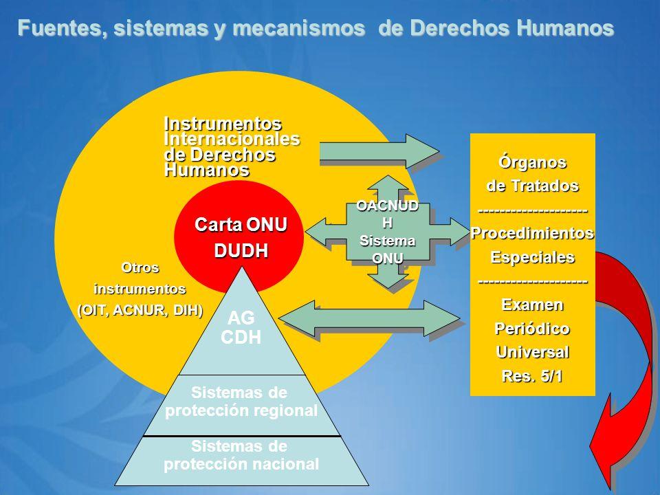 Fuentes, sistemas y mecanismos de Derechos Humanos OACNUD H SistemaONU SistemaONU Otrosinstrumentos (OIT, ACNUR, DIH) Instrumentos Internacionales de Derechos Humanos Carta ONU DUDH AG CDH Sistemas de protección regional ______________________ Sistemas de protección nacionalÓrganos de Tratados --------------------ProcedimientosEspeciales--------------------ExamenPeriódicoUniversal Res.