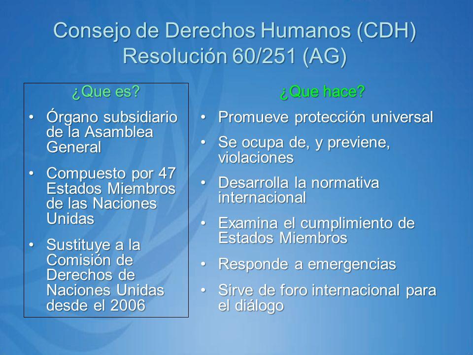 Consejo de Derechos Humanos (CDH) Resolución 60/251 (AG) ¿Que es.