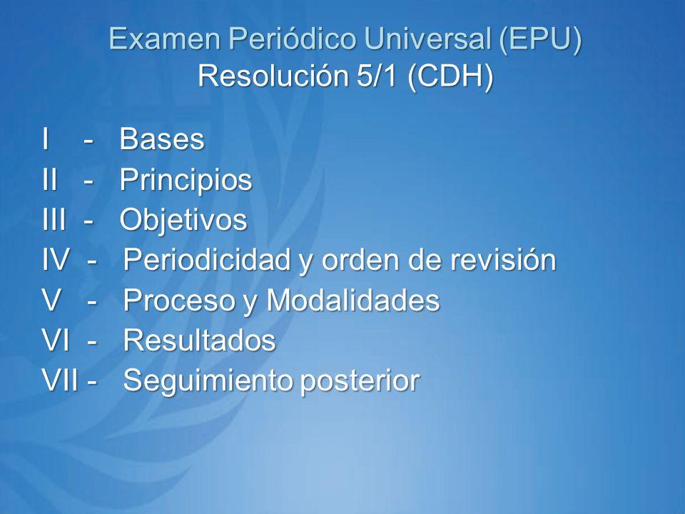 Examen Periódico Universal (EPU) Resolución 5/1 (CDH) I - Bases II - Principios III - Objetivos IV - Periodicidad y orden de revisión V - Proceso y Modalidades VI - Resultados VII - Seguimiento posterior