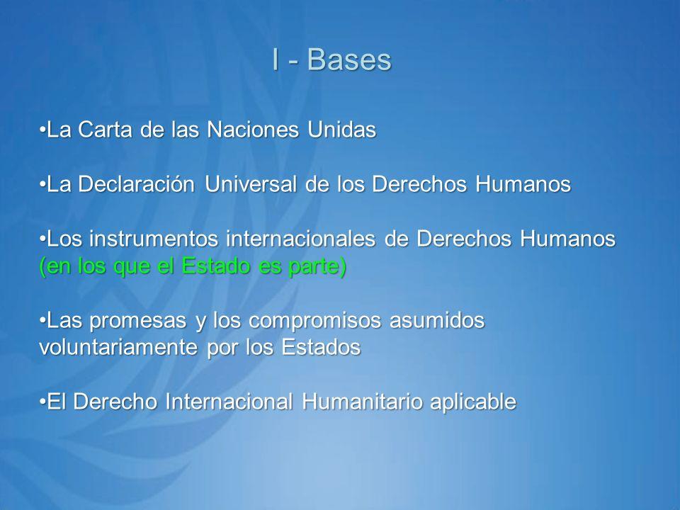 I - Bases La Carta de las Naciones UnidasLa Carta de las Naciones Unidas La Declaración Universal de los Derechos HumanosLa Declaración Universal de los Derechos Humanos Los instrumentos internacionales de Derechos Humanos (en los que el Estado es parte)Los instrumentos internacionales de Derechos Humanos (en los que el Estado es parte) Las promesas y los compromisos asumidos voluntariamente por los EstadosLas promesas y los compromisos asumidos voluntariamente por los Estados El Derecho Internacional Humanitario aplicableEl Derecho Internacional Humanitario aplicable