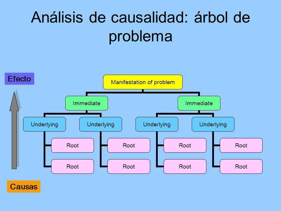 Análisis de causalidad: árbol de problema Manifestation of problem Immediate Underlying Root Underlying Root Immediate Underlying Root Underlying Root