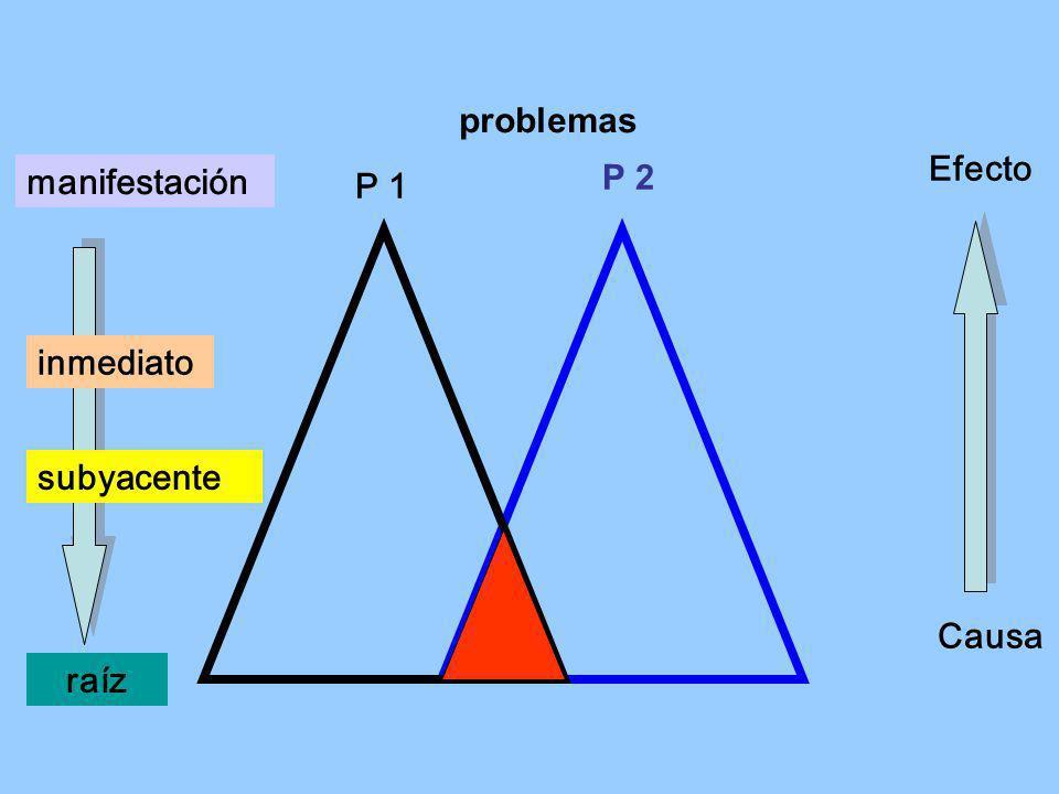 P 2 manifestación raíz Efecto Causa subyacente inmediato problemas P 1
