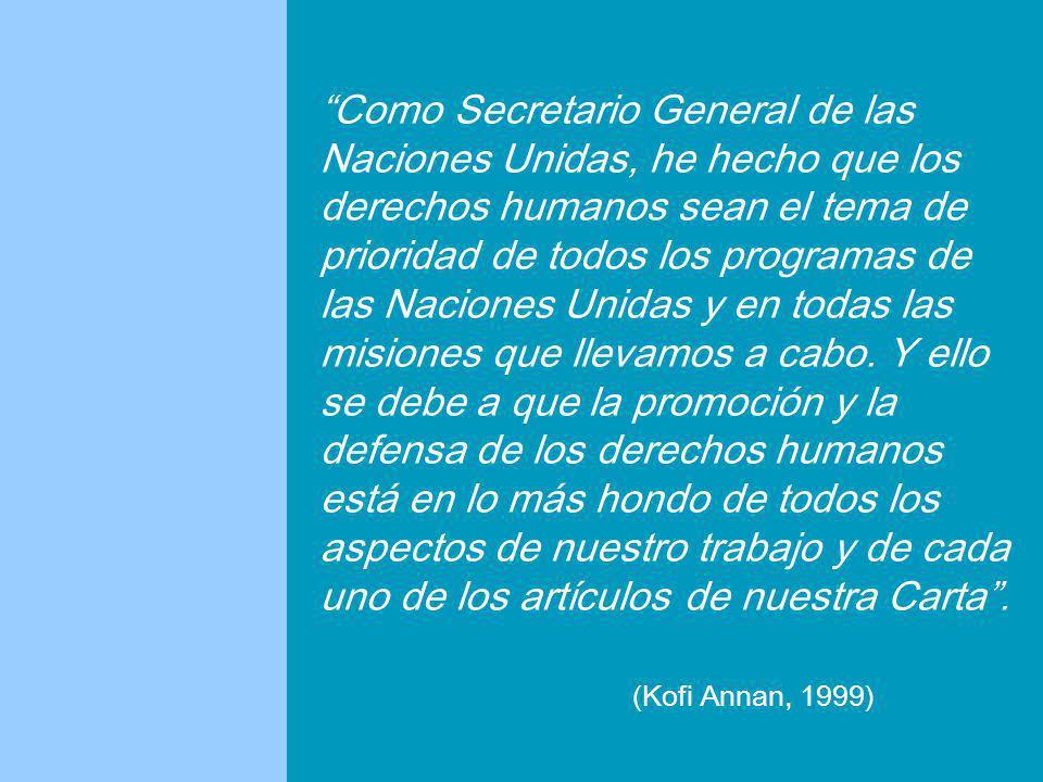 Como Secretario General de las Naciones Unidas, he hecho que los derechos humanos sean el tema de prioridad de todos los programas de las Naciones Uni