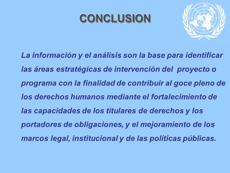 CONCLUSION La información y el análisis son la base para identificar las áreas estratégicas de intervención del proyecto o programa con la finalidad d