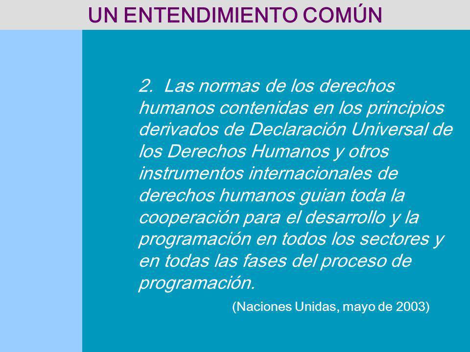 2. Las normas de los derechos humanos contenidas en los principios derivados de Declaración Universal de los Derechos Humanos y otros instrumentos int