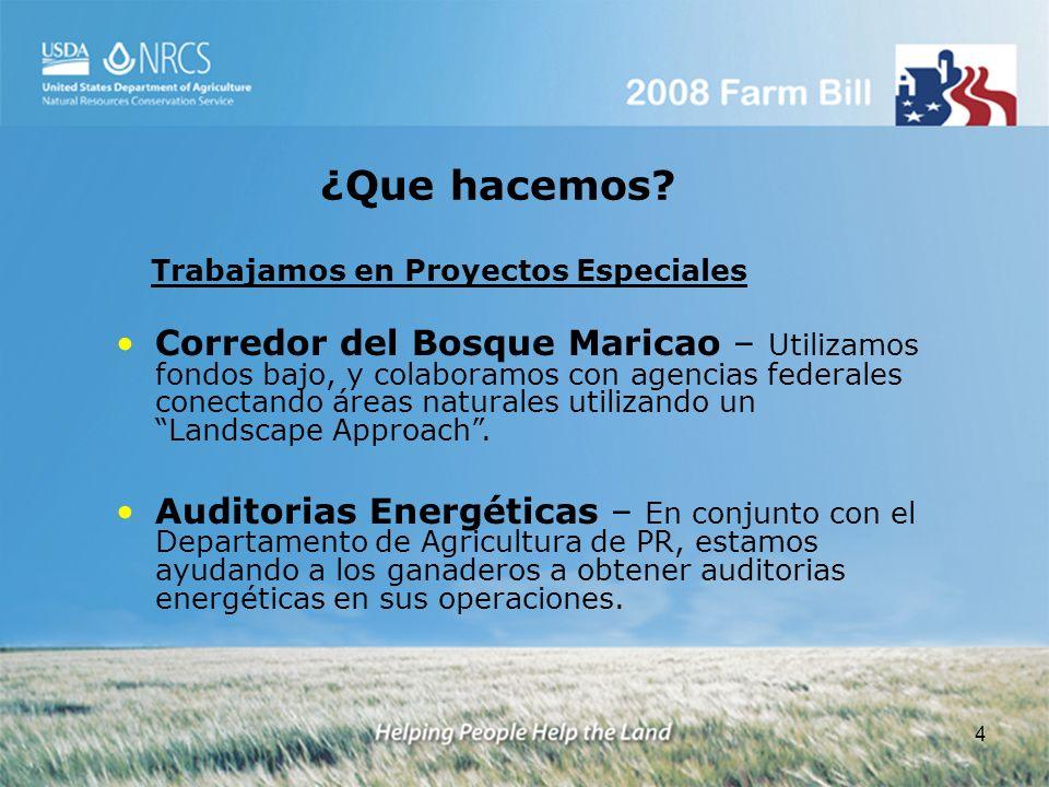 4 Corredor del Bosque Maricao – Utilizamos fondos bajo, y colaboramos con agencias federales conectando áreas naturales utilizando un Landscape Approa