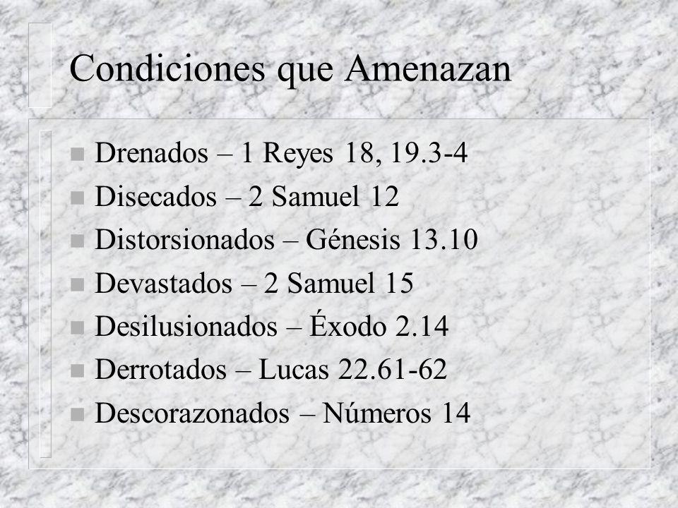 Condiciones que Amenazan n Drenados – 1 Reyes 18, 19.3-4 n Disecados – 2 Samuel 12 n Distorsionados – Génesis 13.10 n Devastados – 2 Samuel 15 n Desil