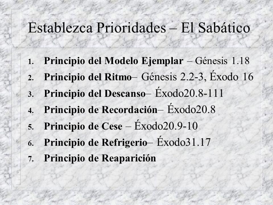 1. Principio del Modelo Ejemplar – Génesis 1.18 2. Principio del Ritmo – Génesis 2.2-3, Éxodo 16 3. Principio del Descanso – Éxodo20.8-111 4. Principi