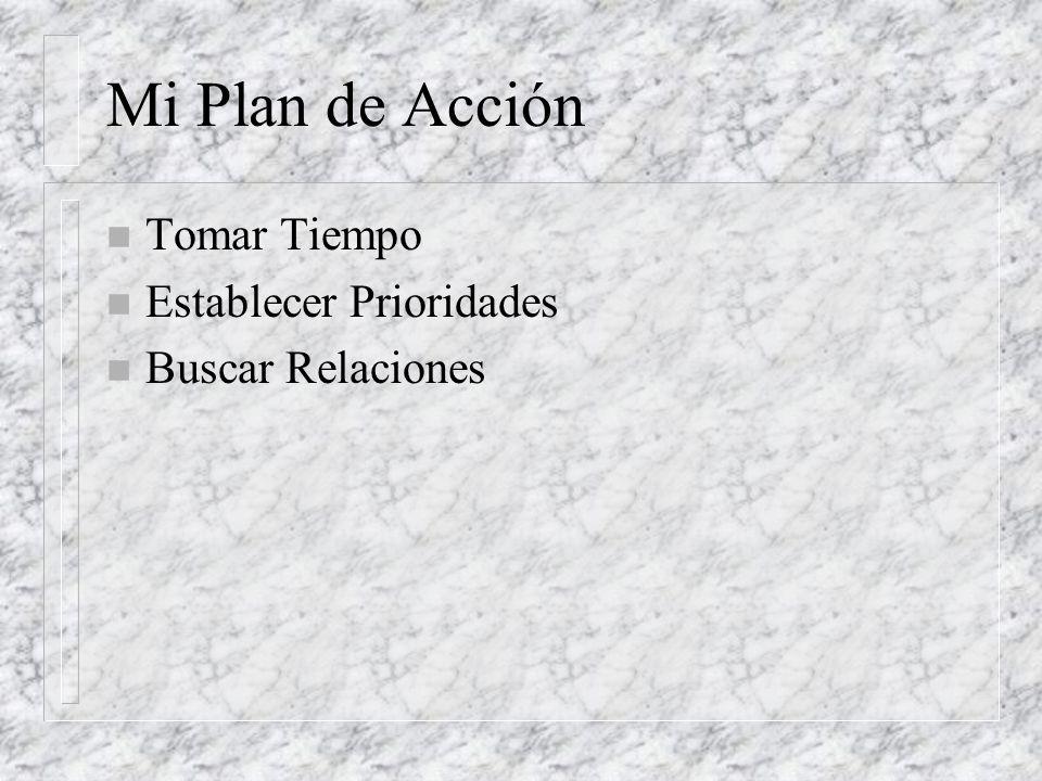 Mi Plan de Acción n Tomar Tiempo n Establecer Prioridades n Buscar Relaciones