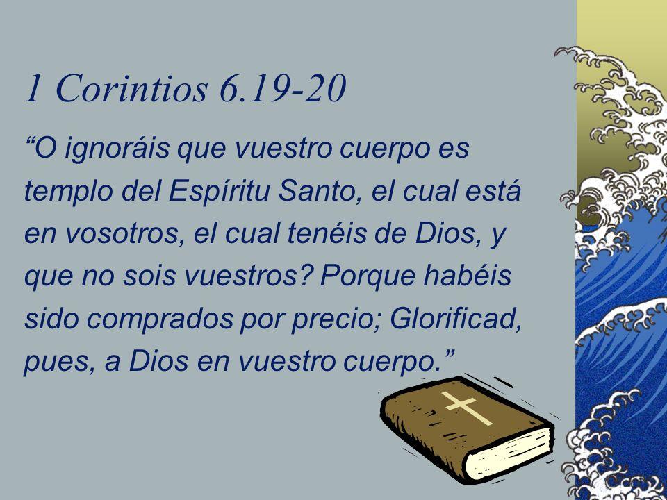 1 Corintios 6.19-20 O ignoráis que vuestro cuerpo es templo del Espíritu Santo, el cual está en vosotros, el cual tenéis de Dios, y que no sois vuestr
