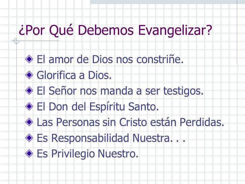 ¿Por Qué Debemos Evangelizar? El amor de Dios nos constriñe. Glorifica a Dios. El Señor nos manda a ser testigos. El Don del Espíritu Santo. Las Perso