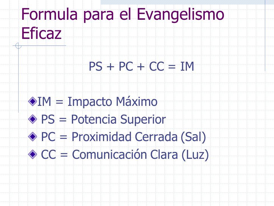 Formula para el Evangelismo Eficaz PS + PC + CC = IM IM = Impacto Máximo PS = Potencia Superior PC = Proximidad Cerrada (Sal) CC = Comunicación Clara