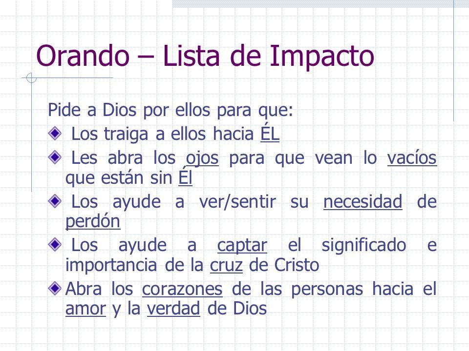 Orando – Lista de Impacto Pide a Dios por ellos para que: Los traiga a ellos hacia ÉL Les abra los ojos para que vean lo vacíos que están sin Él Los a
